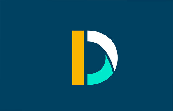 blue white yellow green D letter logo alphabet for company icon design