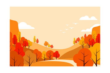 abstract flat autumn landscape background