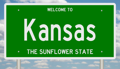 Rendering of a green 3d highway sign for Kansas