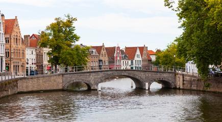 Wall Murals Bridges Stone bridge across Langerei Canal, Brugge, Bruges, Belgium