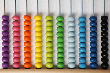 background from multi-colored children's abacus