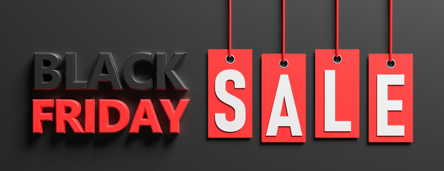 Wall Mural - Black Friday sale. Text on red price labels hanging on black background. 3d illustration.