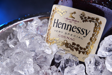 Bottle of Hennessy a brand cognac from Cognac, France