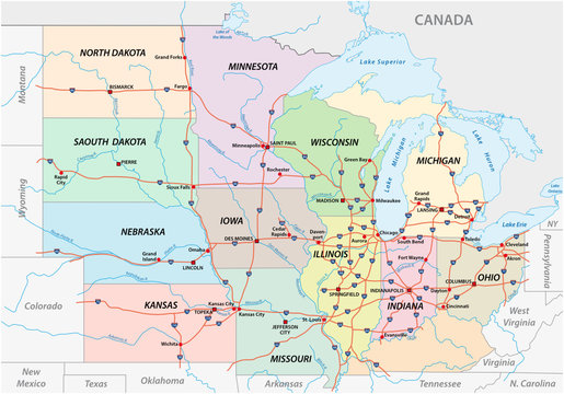 Road map of the Midwest United States of America