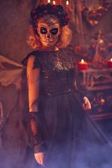 model with sugar skull makeup