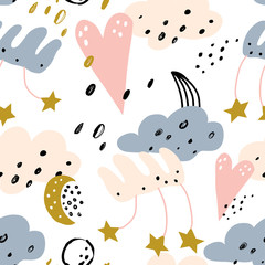 Cute seamless pattern. Childish doodle illustration. Seamless pattern with clouds, hearts and stars. Vector illustration for wrapping paper, textile, surface textures, childish design.