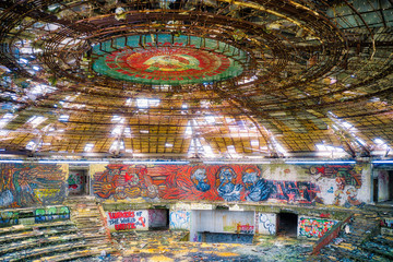 Poster UFO Buzludzha, soviet headquarter of the communist party in Bulgaria, taken in May 2019