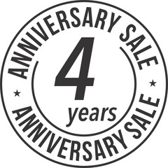 4 Years Anniversary Sale Badge Stamp SVG
