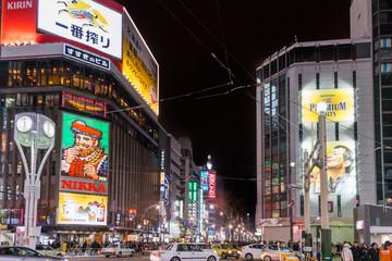 2019年1月 北海道札幌市 / 夜のすすきの交差点