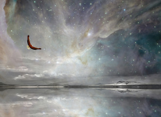 Eagle in Surreal Night Sky