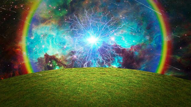 Energy burst over green field. Vivid galaxy