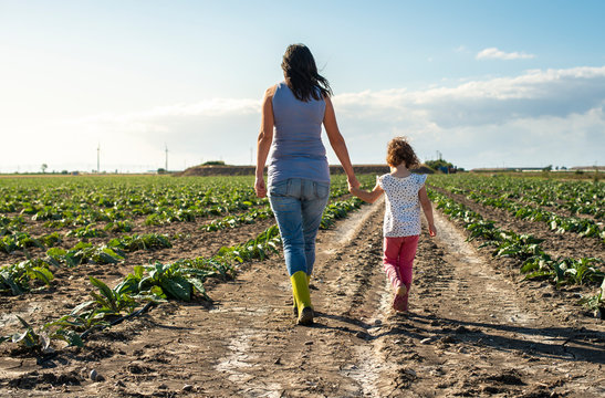 Woman farmer and little girl walking on the agriculture land.