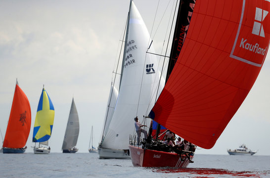 Romanian yacht 'SetSail' competes in the Rolex Middle Sea Race, a 606 nautical mile offshore classic race from Malta, round Sicily and Lampedusa and back, off Valletta's Grand Harbour