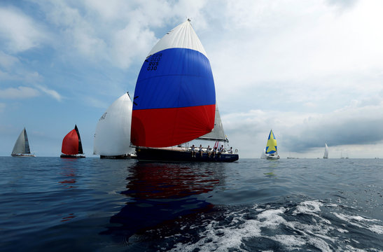 Russian yacht 'Gagarin' competes in the Rolex Middle Sea Race, a 606 nautical mile offshore classic race from Malta, round Sicily and Lampedusa and back, off Valletta's Grand Harbour