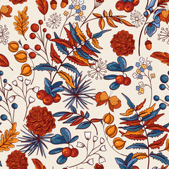 Cozy autumn orange leaves seamless pattern, fowers, pine cone, berries and butterflies, vector vintage hand drawn texture