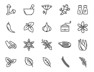 herbs and spices for natural wellness outline flat icons for web and ui design. herbs and spices outline vector icons set isolated on white background. modern apothecary concept