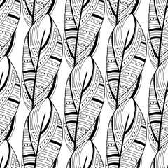Decorative, ornate bird feathers. Black and white outline illustration for coloring book and page. Seamless pattern.