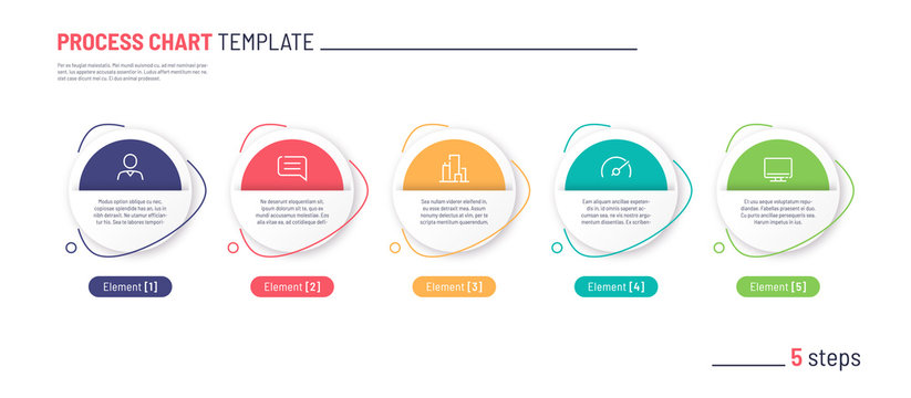 Vector infographic process chart template. Five steps