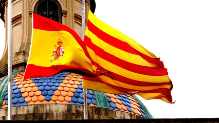 Spanish and Catalan flags yellow and red