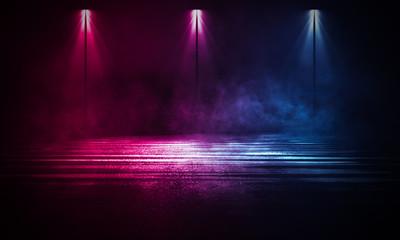 Fotomurales - Empty background scene. Dark street reflection on wet asphalt. Rays of neon light in the dark, neon figures, smoke. Background of empty stage show. Abstract dark background.