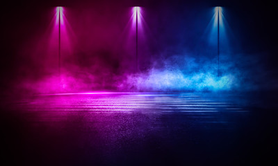 Fotomurales - Empty background scene. Dark street reflection on wet asphalt. Rays of neon light in the dark, neon figures, smoke. Background of empty stage show. Abstract dark background.
