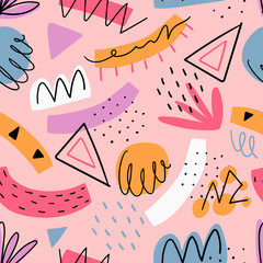 Hand drawn abstract kids seamless  pattern for print, textile, wallpaper. Modern hand drawn shapes background.