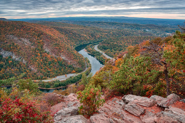 Aluminium Prints Cappuccino Delaware River Bend in Fall