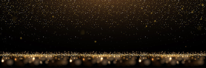 Gold glitter and shiny golden rain on black background. Vector horizontal luxury background.