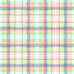 Multicolor grid on white seamless background texture. Hand drawn cute crossing stripes, wavy lines, streaks, bars. Chequered geometrical colourful,  backdrop.
