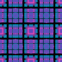 Multicolor grid on purple seamless background texture. Hand drawn cute crossing stripes, wavy lines, streaks, bars. Chequered geometrical colourful,  backdrop.