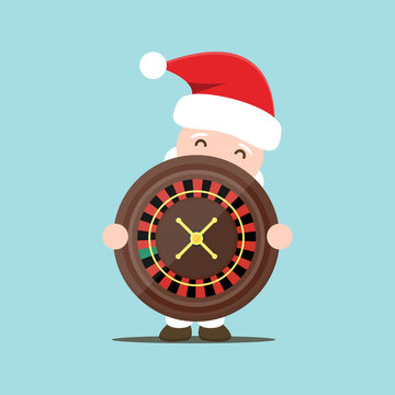 Vector cartoon isolated Santa Claus with casino concept for template and website decoration on the bright background. Concept of Christmas bonus and Happy New Year.