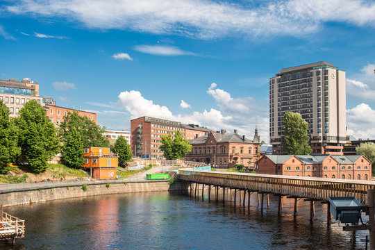 Panoramic view of Tammerkoski river   and old town Tampere the industrial city of Finland Europe