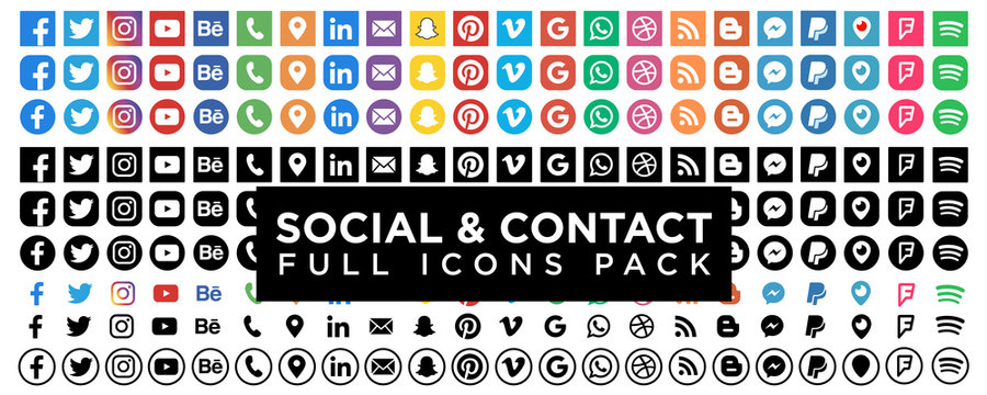 Collection of popular contact social button