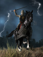 A medieval knight wearing chain armor and a bucket helmet atop his black war horse charges at you sword held high as lightning streaks down in the sky.  3D rendering