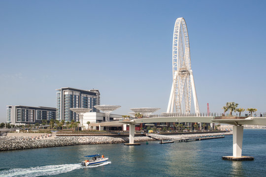 Beautiful View of Bluewaters Island with Ain Dubai World's tallest observation ferris wheel