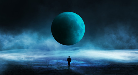 Printed kitchen splashbacks Blue jeans abstract, adventure, background, banner, beautiful, blue, city, concept, cosmos, dark, design, digital, fantasy, future, futuristic, galaxy, geometric, graphic, grid, horizon, island, landscape, laser