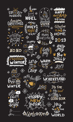 Garden Poster Positive Typography Vector big collection of hand written christmas phrases and quotes