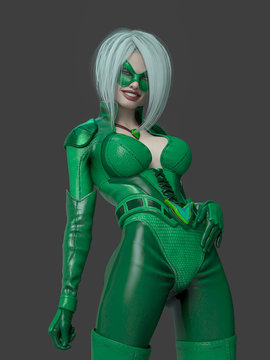 super green girl is smiling with style on grey background