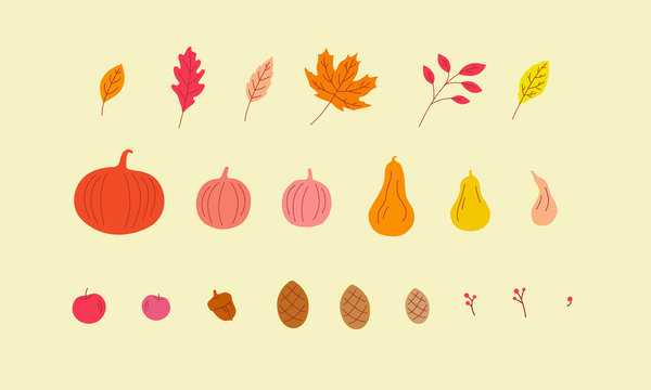 Fall illustrations set. Vector graphics of Autumn imagery. Can be used for posters, flyers, and greeting cards.