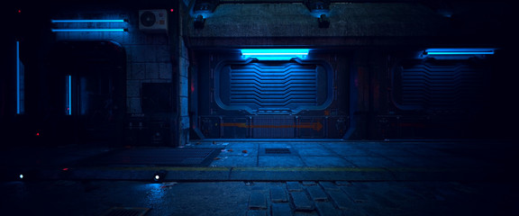 Fotomurales - Wall of an old building with gates and neon lights on a street of futuristic city. 3D illustration. Beautiful night scene in a cyberpunk style. Gloomy urban landscape.