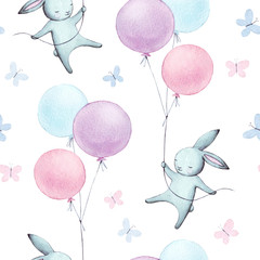 Cute seamless pattern with watercolor festive rabbits, hand drawn isolated on a white background.Happy bunny flying in the sky between colorful balloons and clouds. Cartoon hare  illustration for kids