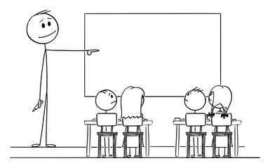 Vector cartoon stick figure drawing conceptual illustration of teacher in classroom with marker in hand pointing at empty whiteboard.