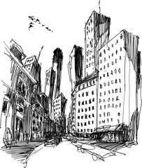 hand drawn architectural sketch of a modern city with tall buildings and rush street