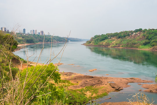 A view of Parana river with low water level during an extremely dry season - Foz do Iguacu, Brazil