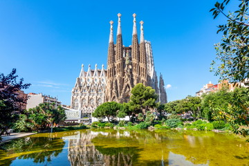 Zelfklevend Fotobehang Barcelona Sagrada Familia Cathedral in Barcelona, Spain
