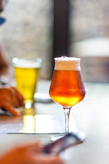 Foto op Aluminium Bier / Cider Craft Beer in Stemmed Glass at Brewery in Miami Rose Ale Amber Colored With Friends Foam Head Blurred Background