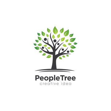 Creative People and Tree Logo Design Template