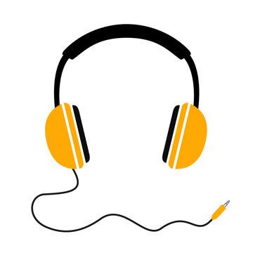 Headphones with wave cord plug, headphone icon, music sign – stock vector