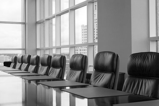 Row of boardroom chairs