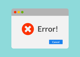 Error message computer window alert popup. System error vector icon failure pc interface
